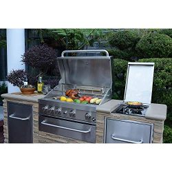 Member's Mark SS304 Stack Stone BBQ Grill Island w/Trash Bin – Natural Gas