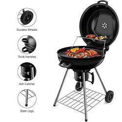 BEAU JARDIN Charcoal Grill 22.5 Inch Diameter Cooking Grate Charcoal BBQ Grill Outdoor Cooking w ...