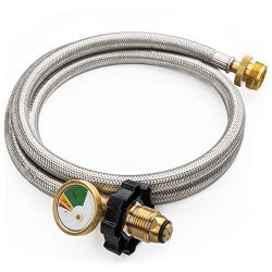 SHINESTAR 5FT POL Stainless Braided Propane Hose Adapter with Propane Tank Gauge, 1 lb to 20 lb  ...