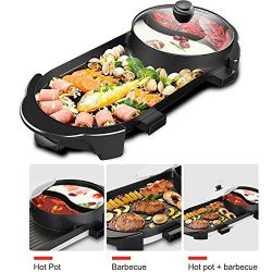 BBQ Grill & Hot Pot, Multi-Function Electric Barbecue Oven And Hot Pot with 5 Adjustable Ele ...