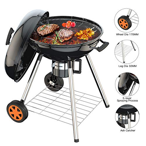 TACKLIFE Charcoal Grill, 22.5 inch Portable Grill for Outdoor Grilling Barbecue, Picnic Patio Ba ...
