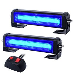 WOWTOU Emergency Blue Grille Light Head, 16W Bright Linear LED Mini Strobe Lightbar Surface Moun ...