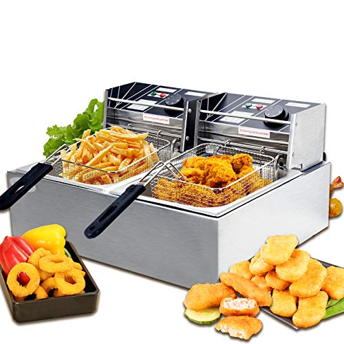 Nurxiovo 16L Commercial Electric Deep Fryer with Double Basket Capacity Countertop Stainless Ste ...