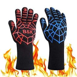 BKhome BBQ Grill Cooking Gloves – Oven Heat Resistant Barbecue Mitts Gloves for Frying, Ba ...