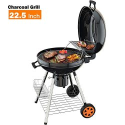 Charcoal Grill, 22.5 inch Diameter Practical Advanced Double-layer Grid Portable Grill, Reinforc ...