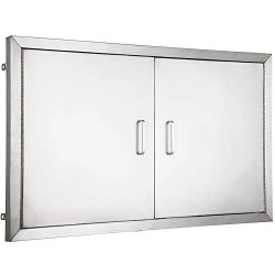 Mophorn 36 Inch Double Stainless Door Flush Mount BBQ Island Double Walled Door Commercial 304 B ...