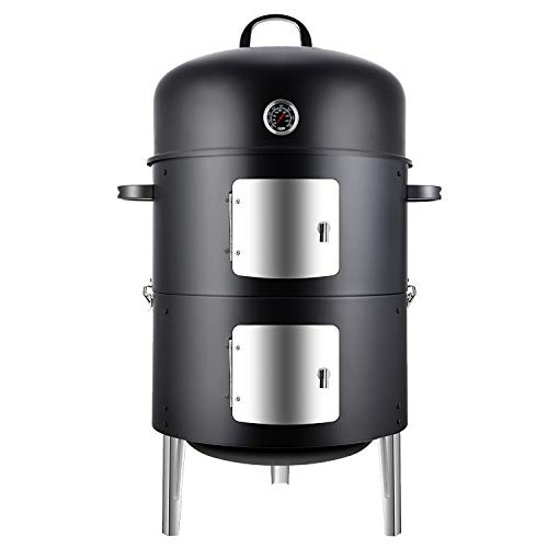 Realcook Vertical 17 Inch Steel Charcoal Smoker, Heavy Duty Round BBQ Grill for Outdoor Cooking, ...