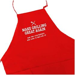 Funny BBQ Father's Day Gift Grill Master Apron for Men With Pockets Barbeque Grilling Dad  ...