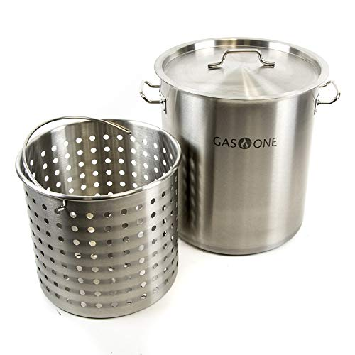 Gas One TP-32 32 QT Stainless Steel Tri Ply Bottom with All Purpose Pot Deep Fryer Steam and Boi ...