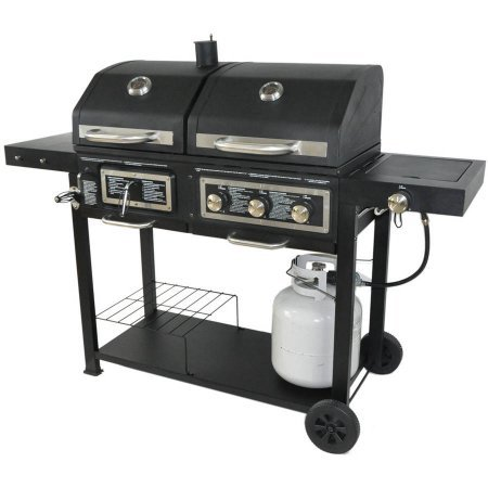 USA Premium Store Dual Fuel Combination Charcoal/Gas Grill Painted Steel Removable Ash Tray