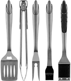 ROMANTICIST 5pc Heavy Duty Grilling Accessories Set – Extra Thick Stainless Steel Grill Se ...