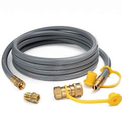 GASPRO 12 Feet 1/2″ ID Natural Gas Hose, Propane Gas Grill Quick Connect/Disconnect Hose A ...