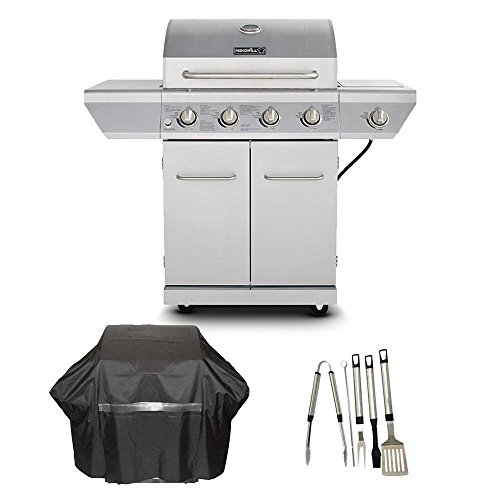 Nexgrill 4-Burner Propane Gas Grill in Stainless Steel with Side Burner and Stainless Steel Door ...