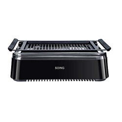 Soing Smoke-less Indoor BBQ Grilll, Electric Tabletop Grill, Non-Stick Easy to Clean BBQ Grill,  ...