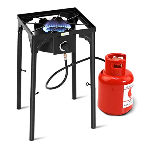 Goplus Outdoor Camp Stove High Pressure Propane Gas Cooker Portable Cast Iron Patio Cooking Burn ...