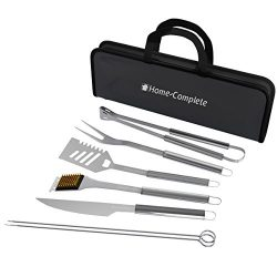 Home-Complete BBQ Grill Tool Set- Stainless Steel Barbecue Grilling Accessories with 7 Utensils  ...