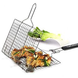 Yeeteching BBQ Grilling Basket, Non Stick Portable 430 Grade Stainless Steel with Removable Wood ...