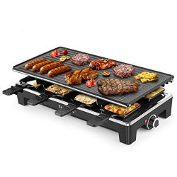 Electric Grill Techwood Raclette Grill with Double-sided Nonstick Grill Plate,8-Person Multifunc ...