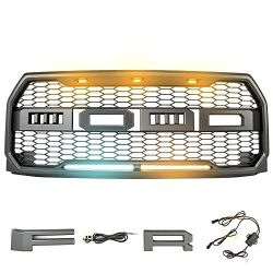 MICTUNING Raptor Style Grill Kit For Ford F-150 with Lights 2015 2016 2017 Front Bumper Conversi ...