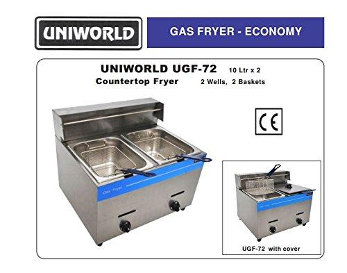 Uniworld Stainless Steel Liquid Propane Gas Fryer (Counter Top),Temperature Range: 0-392 ºF , 2& ...