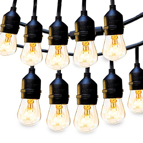 2 Pack Outdoor String Lights Commercial Great Weatherproof Strand Dimmable Edison Vintage Bulbs, ...