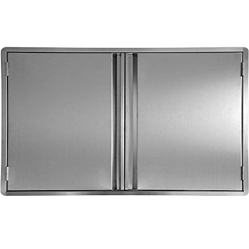 CIOGO Outdoor Kitchen Cabinets 27×22 Inch Double Wall BBQ Doors, 304 All Brushed Stainless  ...