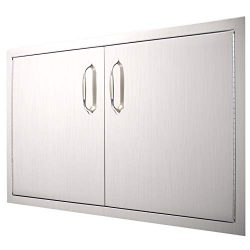 YXHARD Outdoor Kitchen Door, 304 Stainless Steel 34-1/2″Wx 19″ H Double BBQ Access D ...