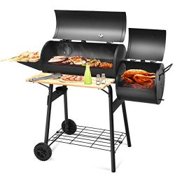 Giantex Charcoal BBQ Grill Barbecue Grill Outdoor Rolling Grill with 2 Grilling Racks, Offset Sm ...