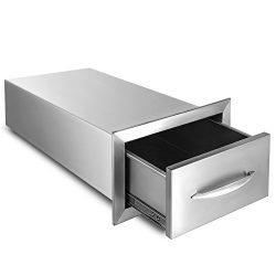 BestEquip 8.5×14 Inch Outdoor Kitchen Drawer Stainless Steel Single Access Drawer with Handle