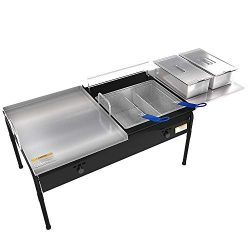 Lodhi's Heavy Duty Taco Cart 2 Tank Double Deep Fryer 90,000 BTU Includes Stainless steel  ...