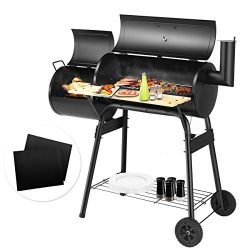 Giantex BBQ Grill with 2 PCS BBQ Grill Mat, Charcoal Barbecue Grill with Non Stick Baking Mats O ...
