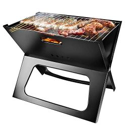 TeqHome Foldable Charcoal Grill, Portable BBQ Barbecue Grill Lightweight Simple Grill for Campin ...