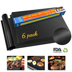 KITMA BBQ Grill Mat, Set of 6 Non – Stick Backing Mats, Reusable, Easy to Clean Barbecue G ...