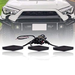 runmade for 2014-2019 4Runner TRD PRO 3Pcs Front Bumper Center Grille Grill LED Lights Amber Lig ...