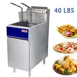 Premium Commercial Deep Fryer – KITMA 40 lb. Liquid Propane 3 Tube Floor Fryer with 2 Frye ...
