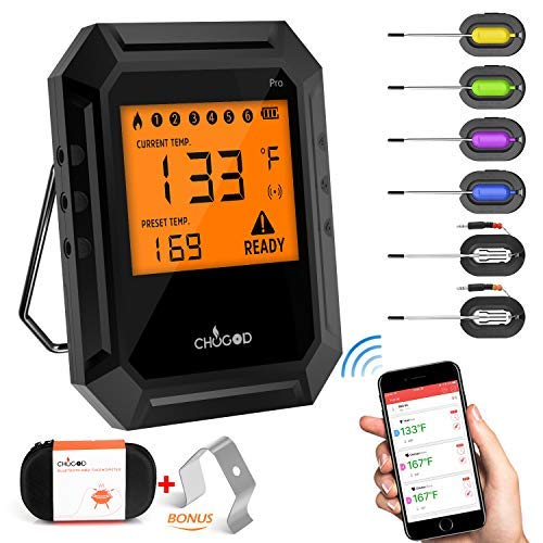 Nobebird Meat Thermometer Bluetooth, BBQ Thermometer Smart Cooking Bluetooth Thermometer with 6  ...