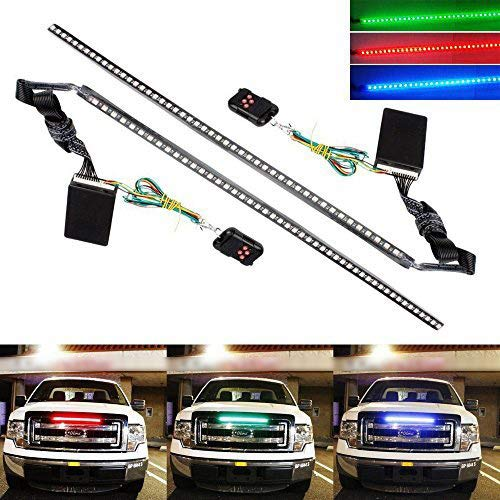 iJDMTOY (2) 20 inches 48-LED RGB 7-Color LED Knight Rider Scanner Lighting Bars For Car Truck SU ...