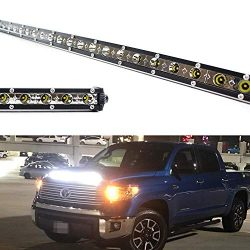 iJDMTOY Hood Scoop Mount 36-Inch LED Ultra Slim Light Bar Kit For 2014-up Toyota Tundra, Include ...