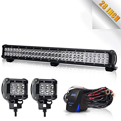 TURBOSII DOT 28-30″Inch Led Light Bar 180W 18000LM Flood Spot Combo Offroad Work Light On  ...