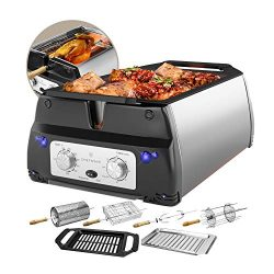 ChefWave Smokeless Indoor Electric Grill & Rotisserie – 5 in 1 Non-Stick Tabletop Kitc ...