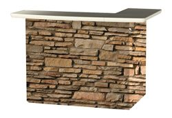 Best of Times 2000W2406 Rock Wall Portable Patio Bar Table, One Size, L-Shaped, Brown
