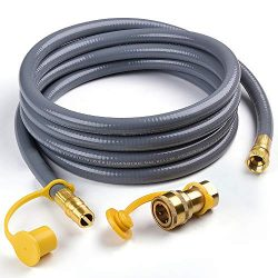 X Home 12 Feet 3/8 inch Natural Gas and Propane Gas Hose Assembly for Low Pressure Appliance -3/ ...