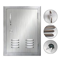POPMOON Brushed Flushmount 304 Stainless Steel BBQ Access Door with Vents, Lock and Key for Outd ...