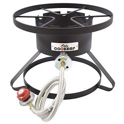COOKAMP High Pressure 1-Burner Outdoor Propane Gas Cooker with 0-20 PSI Adjustable Regulator and ...