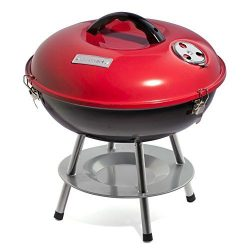 Cuisinart CCG-190RB Portable Charcoal Grill, 14-Inch, Red (Renewed)