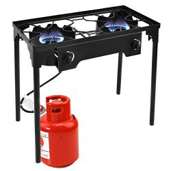 Goplus Outdoor Stove High Pressure Propane Burner 150,000BTU Portable Gas Cooker Height Adjustab ...
