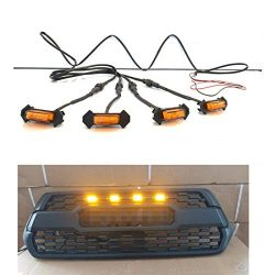 TIKSCIENCE 4pcs Grill Lights Amber LED Fits for Toyota Tacoma TRD PRO Grille 2016 2017 2018,with ...