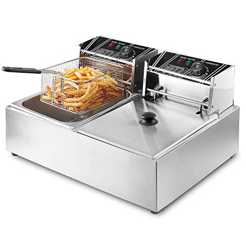 Flexzion Deep Fryer with Basket – Dual Tank 5000W 12 Liter Stainless Steel Electric Counte ...
