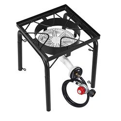 GYMAX Outdoor Stove, Single Burner High Pressure Portable Gas Cooking Stove with Adjustable Regu ...