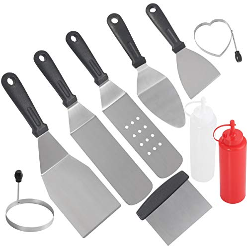 POLIGO Professional Spatula Set in Packing Box – 10pcs Commercial Grade Stainless Steel Gr ...